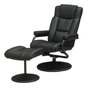 パーソナルチェアー/イージーチェア  P-020 ブラック色(黒色) 合成皮革張りリクライニングチェアー オットマン(足置き)付き sanukiya