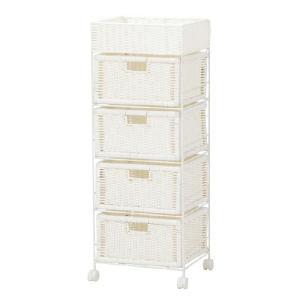 ランドリーボックス/チェスト スチールフレーム 37.5巾4段 ホワイト色 sanukiya