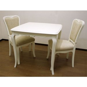 猫脚ダイニングセット 白色80巾テーブル、椅子付き3点セット 伝統的ヨーロピアンエレガントデザイン リモージュDT85 sanukiya