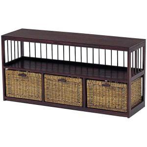 木製フレーム棚付き籐 ラタンチェスト ランドリー 104巾3列1段3杯 sanukiya