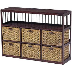 木製フレーム棚付き籐 ラタンチェスト ランドリー 104巾3列2段6杯 sanukiya
