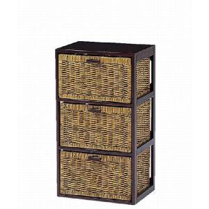 木製フレーム籐 ラタンチェスト ランドリー 40巾3段 sanukiya