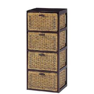 木製フレーム籐 ラタンチェスト ランドリー 40巾4段 sanukiya