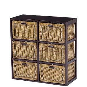 木製フレーム籐 ラタンチェスト ランドリー 70巾2列3段6杯 sanukiya
