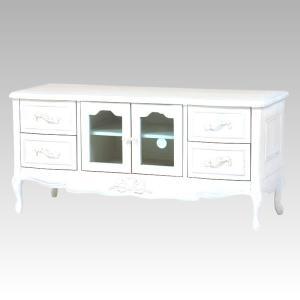 テレビ台 120幅ローボード ドレッシーな猫脚 エレガントな花柄彫刻入り ホワイト色(白色) 完成品