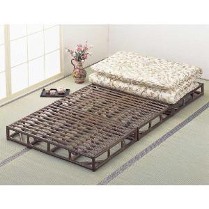 籐(ラタン)ベッド 籐すのこベッド ダークブラウン色 シングルサイズ 三分割タイプ 通気性抜群で、高...