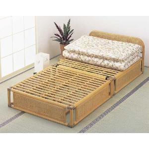 籐(ラタン)ベッド ヘッドボード付籐すのこベッド シングルサイズ 三分割タイプ 通気性抜群で、高温多...