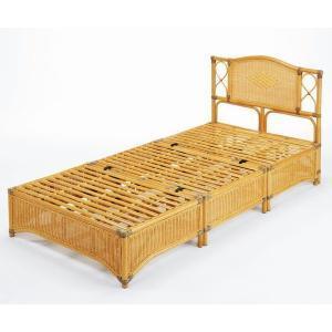 アジアン家具 籐(ラタン)すのこシングルベッド、ヘッドボード付 シングルサイズ|sanukiya