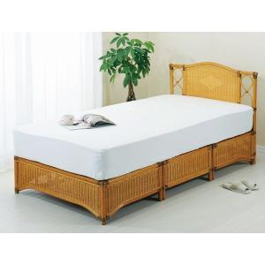 アジアン家具 籐(ラタン)すのこシングルベッド、スプリングマット付 シングルサイズ|sanukiya