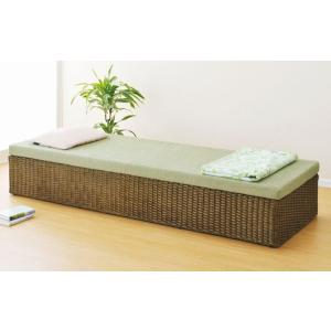 アジアン家具 ウィッカー編み籐(ラタン)すのこシングルベッド セミ