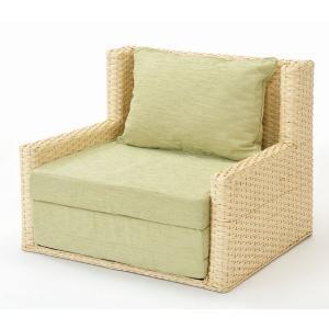 アジアン家具 籐(ラタン)シングルベッド、三つ折れソファーベッド シングルサイズ 折りたたみベッド|sanukiya