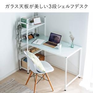 パソコンデスク 幅120cm ガラス ワークデスク ワイド(即納)|sanwadirect|03