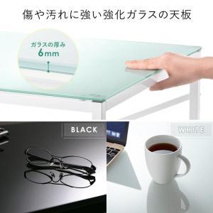 パソコンデスク 幅120cm ガラス ワークデスク ワイド(即納)|sanwadirect|04