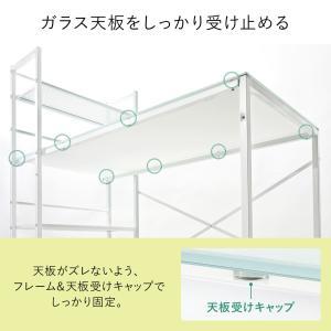 パソコンデスク 幅120cm ガラス ワークデスク ワイド(即納)|sanwadirect|06
