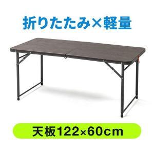 折りたたみテーブル 屋外 アウトドア 屋内 会議 テーブル 長机 幅122cm 奥行60cm 樹脂天板 高さ変更(即納)|sanwadirect