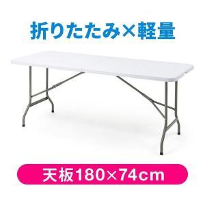 折りたたみテーブル 屋外 アウトドア 屋内 会議 テーブル 長机 幅180cm 奥行74cm 樹脂天板(即納)|sanwadirect