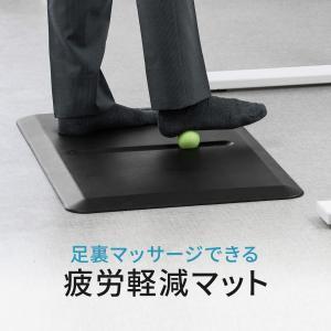 マット 疲労軽減 クッション 腰痛対策 立ち仕事 キッチン 耐水 工場 作業 ボール付き 幅81cm 奥行51cm 高さ1.9cm(即納)|sanwadirect
