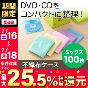 CDケース DVDケース 不織布ケース 両面収納 5色ミックス 紙のように軽量 スリム|sanwadirect
