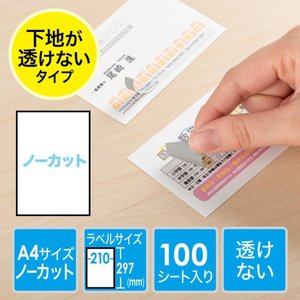 ラベルシール A4 ノーカット 100枚(即納) sanwadirect