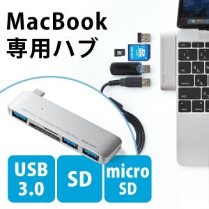 MacBook USB ハブ Type-C USB3.0 Pro microSD SDカードリーダー(即納)|sanwadirect