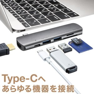 MacBook USBハブ USB A×2 USB PD対応 USB-C×1 HDMI SD microSD カードリーダー(即納)|sanwadirect
