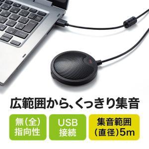 WEB会議マイク USBマイク 薄型 Skype対応 高感度 無指向性 5m
