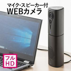 WEB会議 スピーカー カメラ マイク スピーカー 一体型 フルHD Skype FaceTime スカイプ 会議用 集音マイク(即納)|sanwadirect