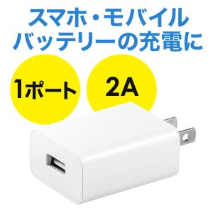 USB充電器 1ポート 2A コンパクト PSE取得 iPhone/Xperia充電対応(即納)|sanwadirect