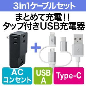 USB 充電器 コンセント スマホ iPhone 急速充電 Type-C ケーブル付き セット(即納)|sanwadirect