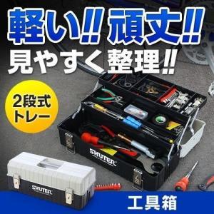 工具箱 ツールボックス 整理 持ち運び 2段トレー付き プラスチック