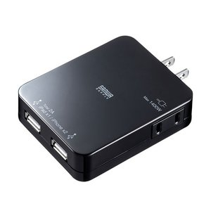 iPad充電ACアダプタ USBポート2個 スマホ 充電 コンセント ブラック(ACA-IP25BK)(即納)|sanwadirect|08