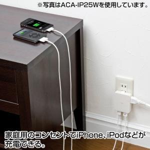 iPad充電ACアダプタ USBポート2個 スマホ 充電 コンセント ブラック(ACA-IP25BK)(即納)|sanwadirect|03