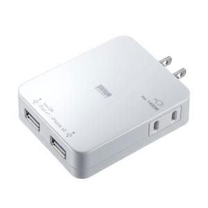 iPad充電ACアダプタ USBポート2個 スマホ 充電 コンセント ホワイト(ACA-IP25W)|sanwadirect|09