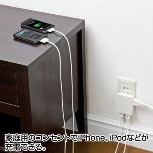 iPad充電ACアダプタ USBポート2個 スマホ 充電 コンセント ホワイト(ACA-IP25W)|sanwadirect|03