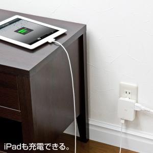 iPad充電ACアダプタ USBポート2個 スマホ 充電 コンセント ホワイト(ACA-IP25W)|sanwadirect|04