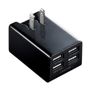 サンワサプライ 4ポートUSB充電器 合計4.8A出力 ブラック(ACA-IP38BK)(即納)