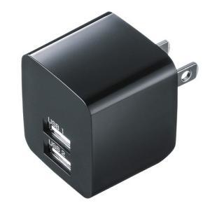 USB充電器 2ポート 2.4A 小型 ブラック(ACA-IP44BK)(即納)|sanwadirect