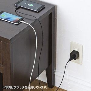 USB充電器 2ポート 2.4A 小型 ホワイト(ACA-IP44W)(即納)|sanwadirect|03