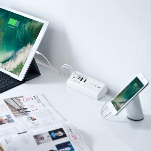 USB充電器 クランプ式 机固定 USB4ポート ホワイト(ACA-IP50W)(即納)|sanwadirect|06