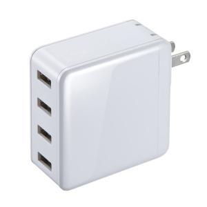 USB充電器 合計6A 4ポート ホワイト(ACA-IP54W)(即納)|sanwadirect