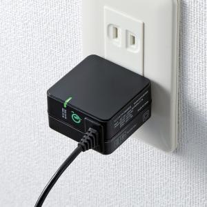 Quick Charge 3.0対応AC充電器 USB Type Cケーブル一体型 ブラック 1.2m(ACA-QC46CBK)(即納) sanwadirect 03