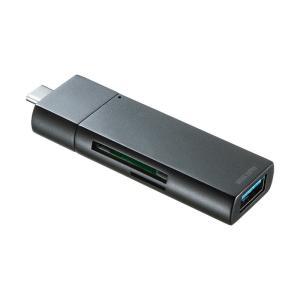 Type-Cカードリーダー USB Aポート付き コンパクト ブラック(即納) sanwadirect