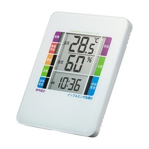 デジタル温湿度計 熱中症&インフルエンザ表示付き 警告ブザー設定機能付き(CHE-TPHU2WN)(即納)|sanwadirect