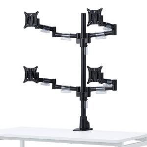 水平多関節液晶モニタアーム 4面 VESA対応 クランプ/グロメット式(CR-LA1505BK)(即納)|sanwadirect