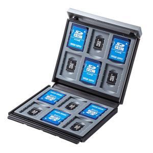 メモリーカードケース SDカード12枚+microSDカード12枚 ハードケース 衝撃吸収 ブラック(FC-MMC4BKN)(即納)|sanwadirect