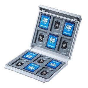 メモリーカードケース SDカード12枚+microSDカード12枚 ハードケース 衝撃吸収 ホワイト(FC-MMC4WN)(即納)|sanwadirect