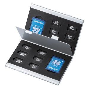 アルミメモリーカードケース microSDカード用 両面収納タイプ(FC-MMC5MICN)(即納)|sanwadirect
