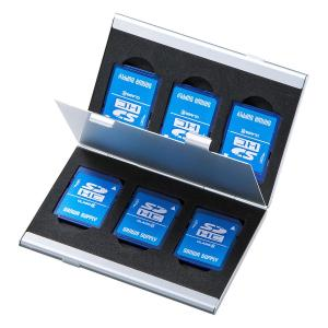 メモリーカードケース SDカードケース 最大6枚収納 アルミ製 両面収納(FC-MMC5SDN2)(即納)|sanwadirect