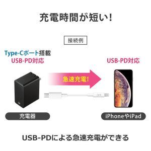 Type-Cライトニングケーブル PD対応 急速充電 データ転送 1m ホワイト(KB-IPLC10W)(即納)|sanwadirect|03