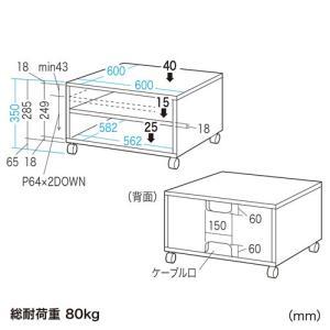 プリンター台 プリンタースタンド ボックスタイプ レーザープリンター用(LPS-T103K) sanwadirect 02